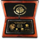 1993 Singapore 4-Coin Gold & Silver Year of the Rooster Proof Set