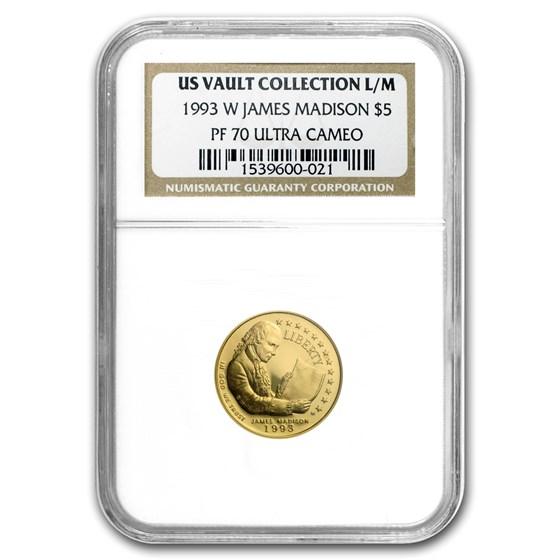 1993-W Gold $5 Commem Bill of Rights PF-70 NGC