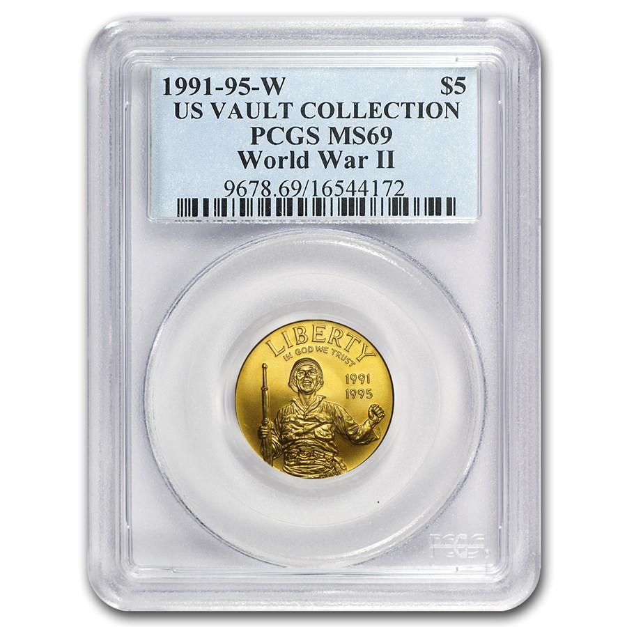 1993-W Gold $5 Commem World War II MS-69 PCGS