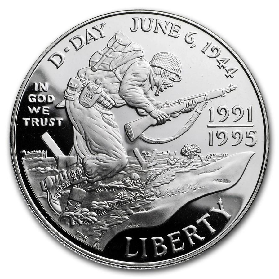 1993-W World War II $1 Silver Commem Proof (w/Box & COA)