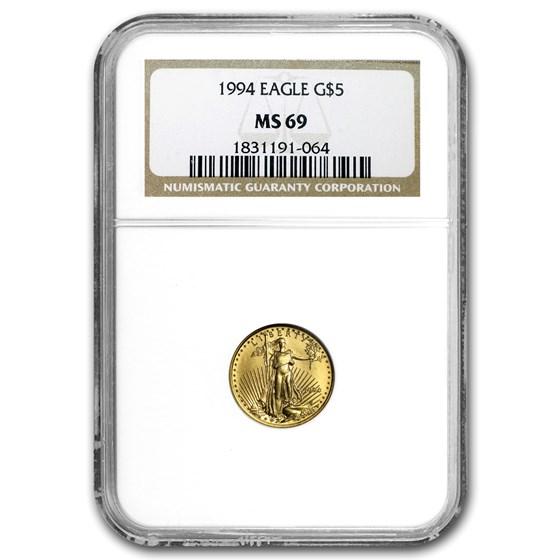 1994 1/10 oz American Gold Eagle MS-69 NGC