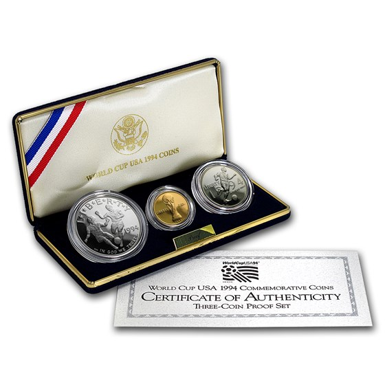 1994 3-Coin Commem World Cup Proof Set (w/Box & COA)