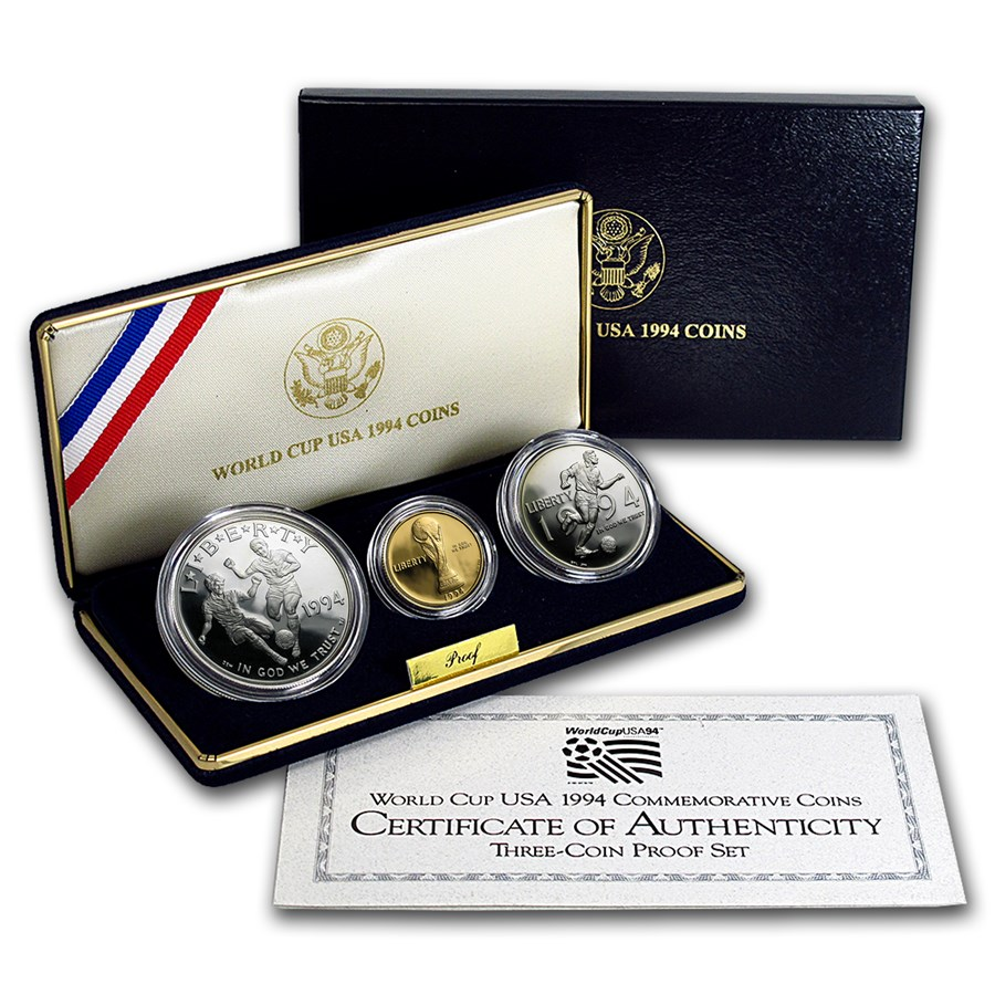 1994 3-Coin Commem World Cup Set BU (w/Box & COA)