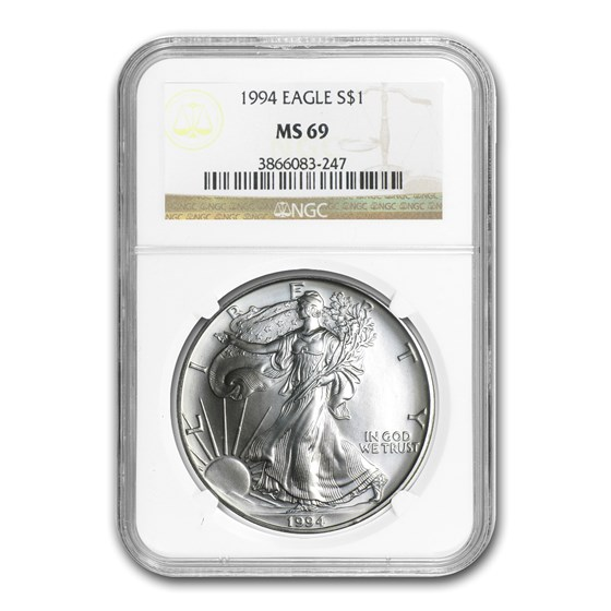 1994 American Silver Eagle MS-69 NGC