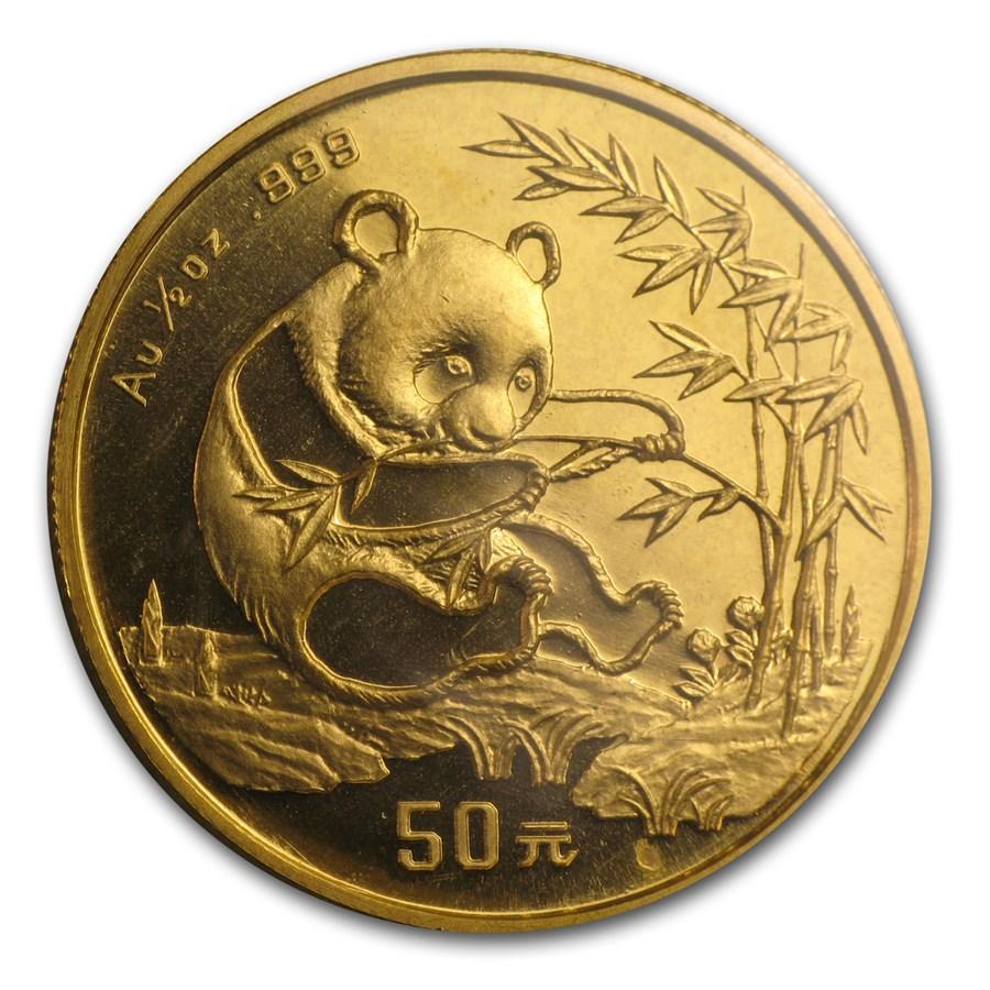 1994 China 1/2 oz Gold Panda Small Date BU (Sealed)