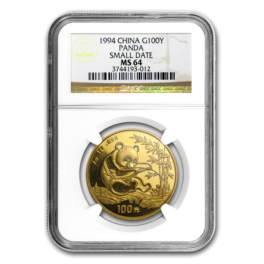 1994 China 1 oz Gold Panda Small Date MS-64 NGC