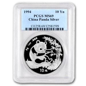 1994 China 1 oz Silver Panda MS-69 PCGS (Large Date)