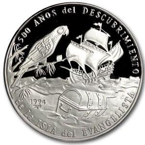 1994 Cuba Silver 10 Peso La Evangelista Proof