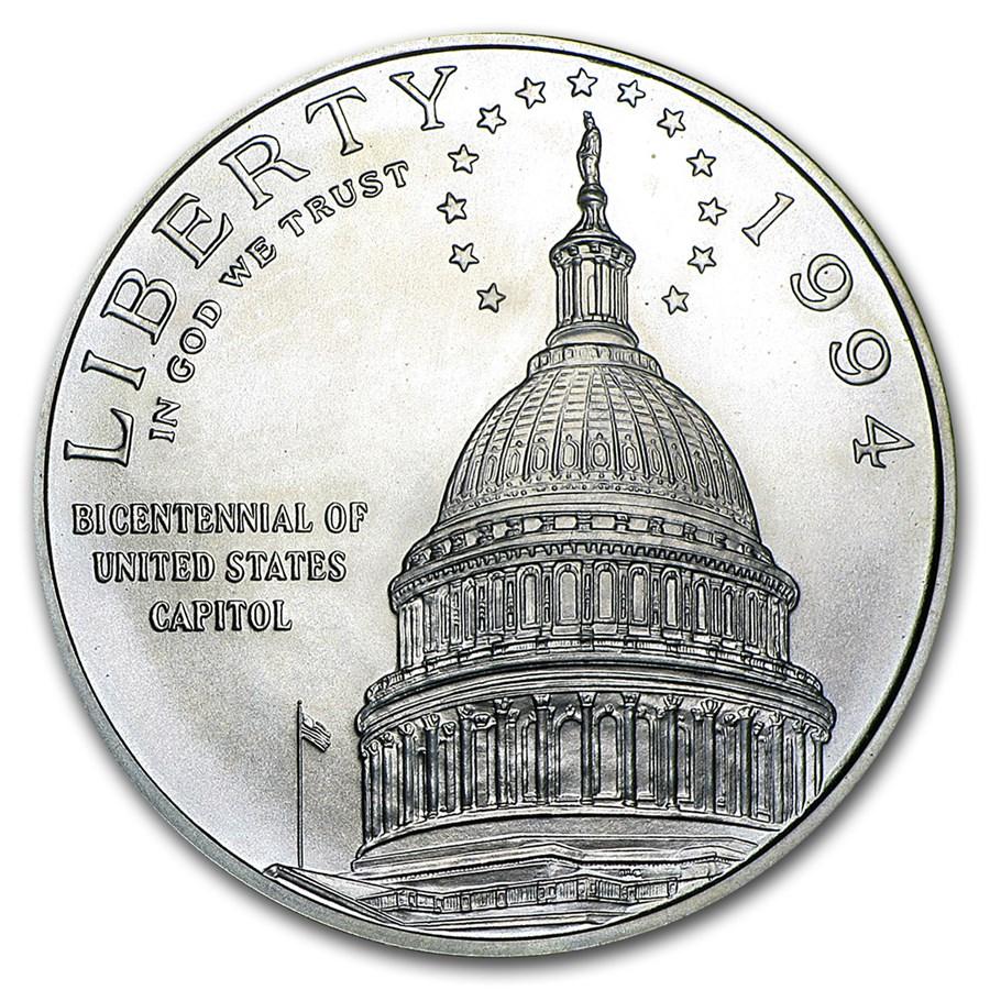 1994-D Capitol $1 Silver Commem BU (w/Box & COA)