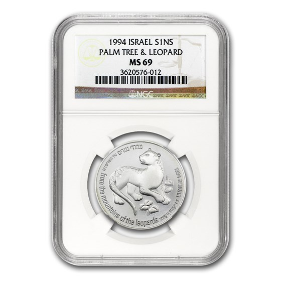 1994 Israel Silver 1 NIS Leopard and Palm Tree MS-69 NGC