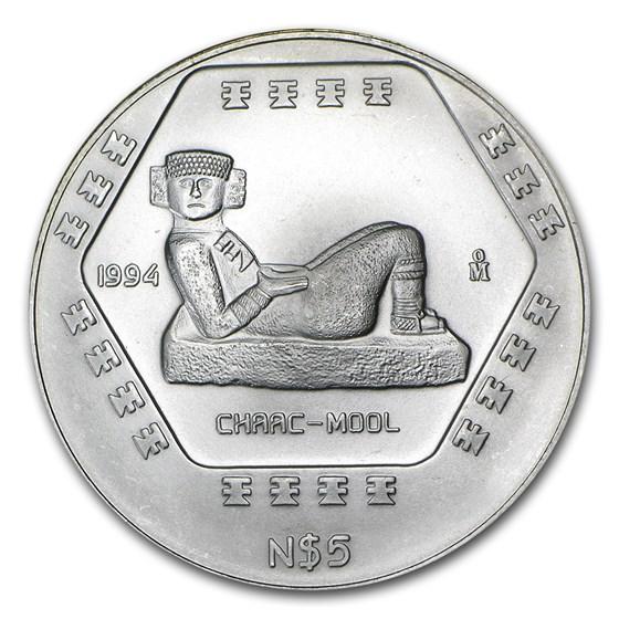 1994 Mexico 1 oz Silver 5 Pesos Chaac-Mool