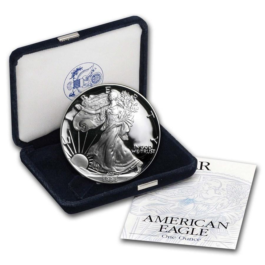 1994-P 1 oz Proof American Silver Eagle (w/Box & COA)