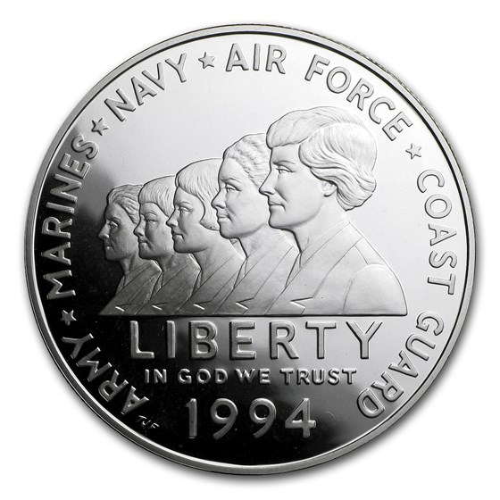 1994-P Women in Military $1 Silver Commem Proof (w/Box & COA)