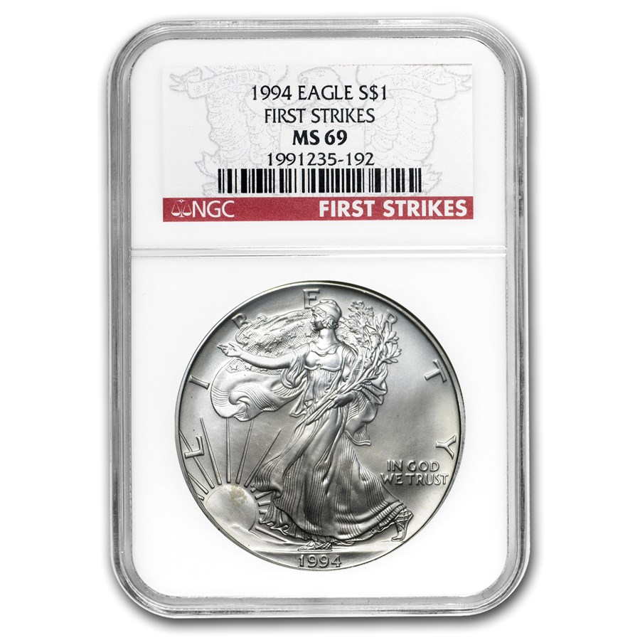 1994 Silver American Eagle MS-69 NGC (First Strike)