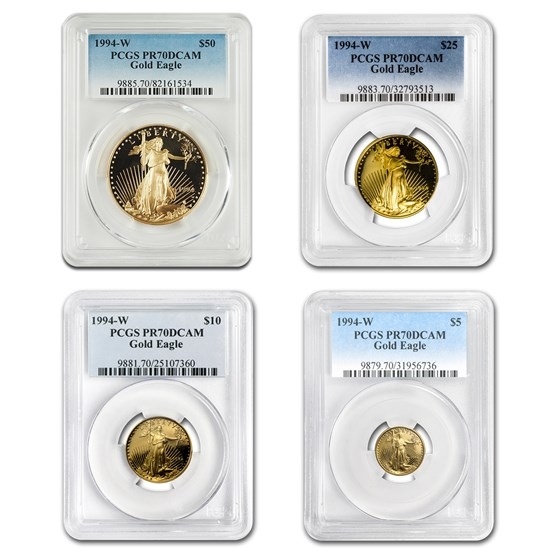 1994-W 4-Coin Proof Gold American Eagle Set PR-70 PCGS