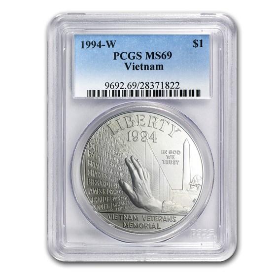 1994-W Vietnam Veterans Memorial $1 Silver Commem MS-69 PCGS