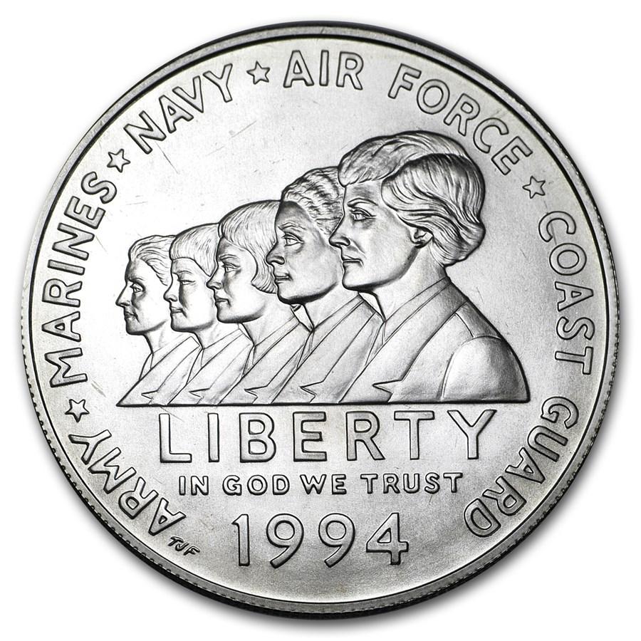 1994-W Women in Military $1 Silver Commem BU (w/Box & COA)