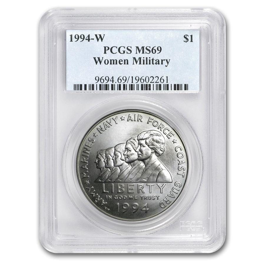 1994-W Women in Military $1 Silver Commem MS-69 PCGS
