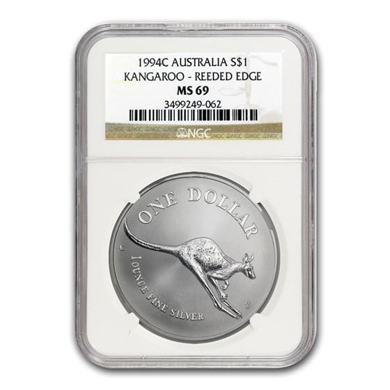 1994C Australia 1 oz Silver Kangaroo MS-69 NGC