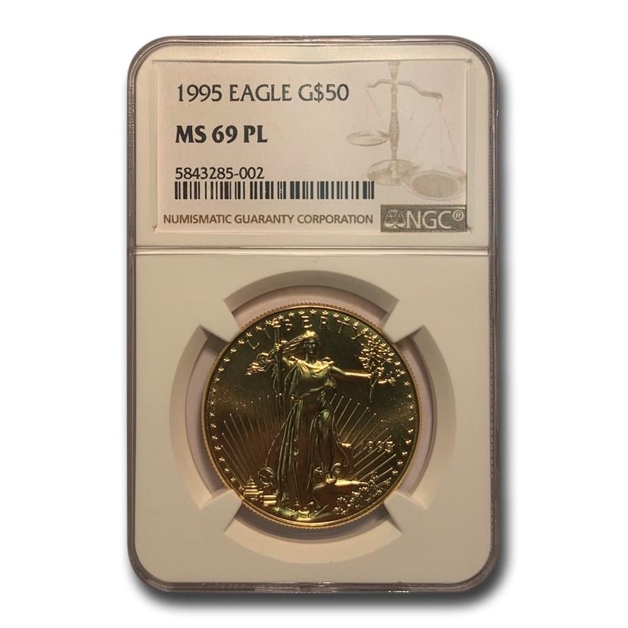 1995 1 oz American Gold Eagle MS-69 PL NGC