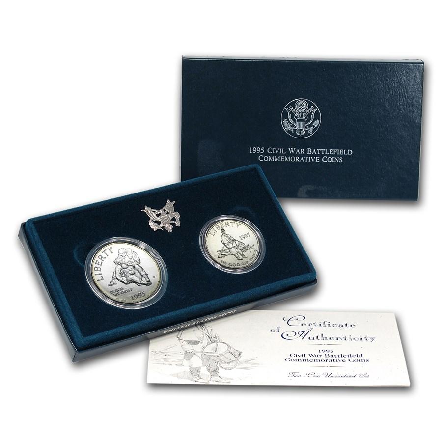 1995 2-Coin Civil War Battlefield Set BU (w/Box & COA)