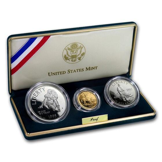 1995 3-Coin Commem Civil War Proof Set (w/Box & COA)