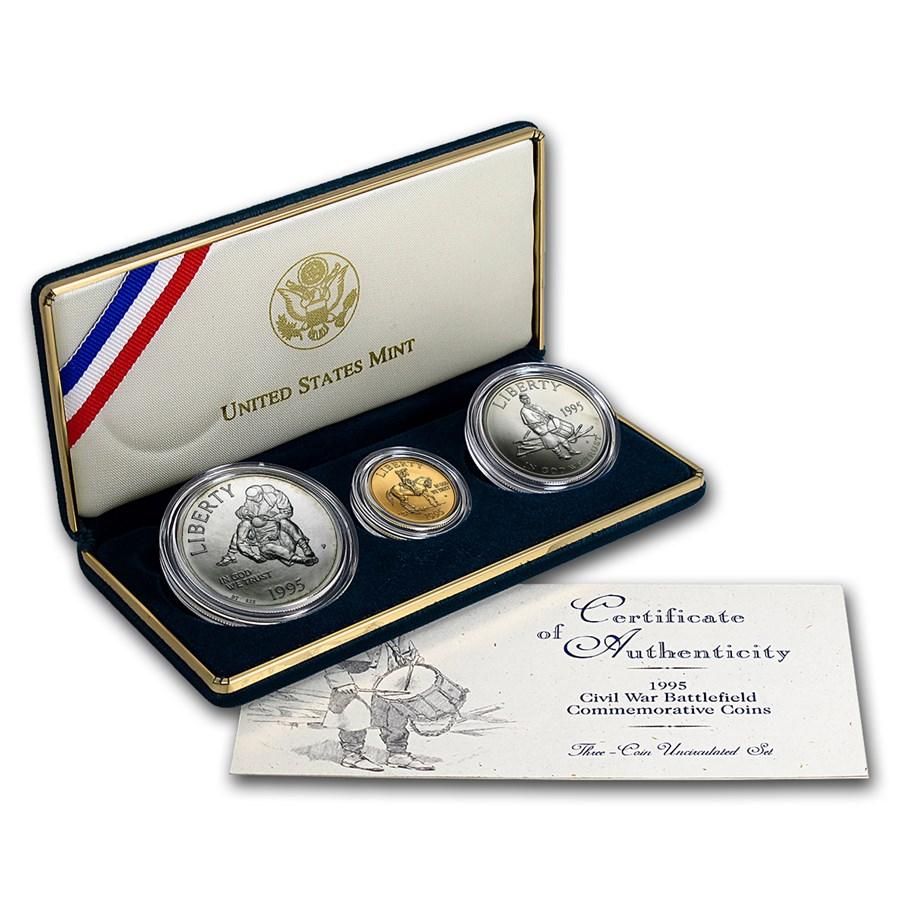 1995 3-Coin Gold/Silver/Clad Commem Civil War Set BU w/Box & COA