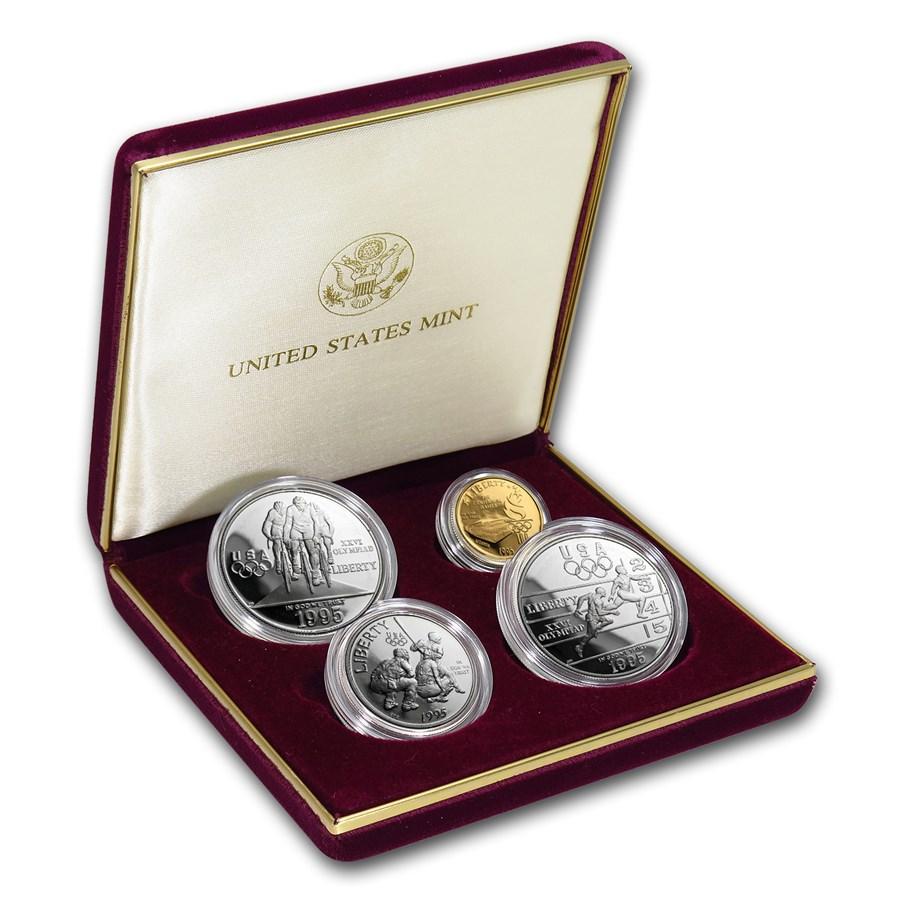 1995 4-Coin Commem Olympic Proof Set (w/Box & COA)