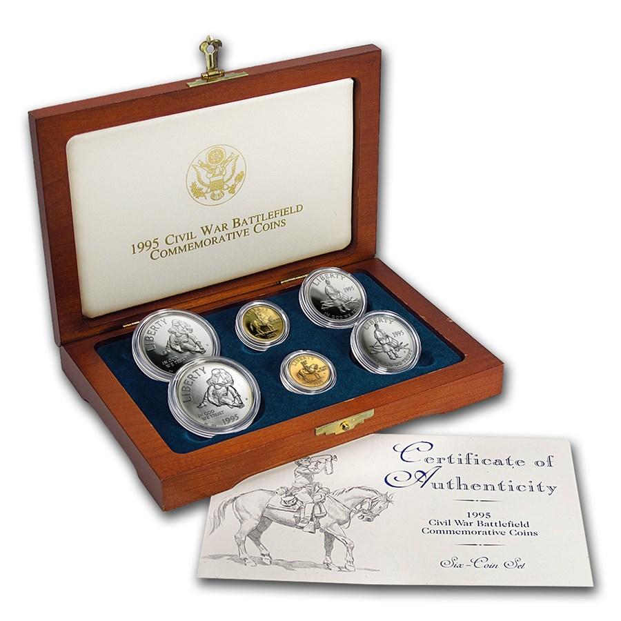 1995 6-Coin Commem Civil War Set BU & Proof (w/Box & COA)