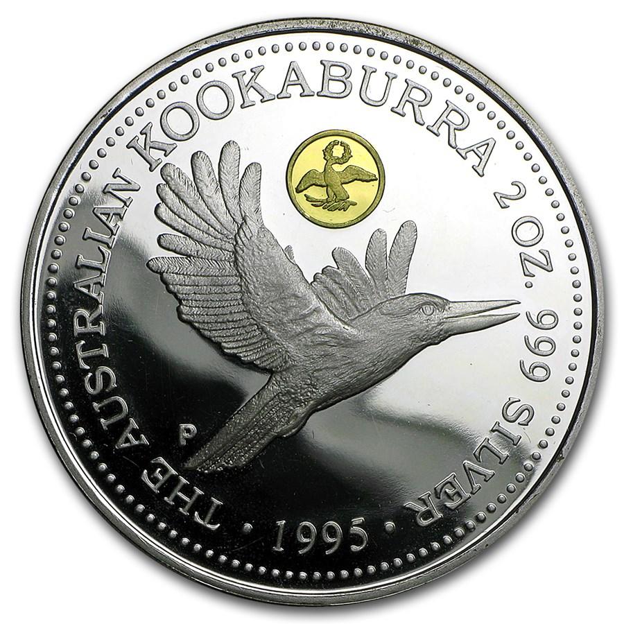1995 Australia 2 oz Silver Kookaburra BU (Golden Eagle Privy)