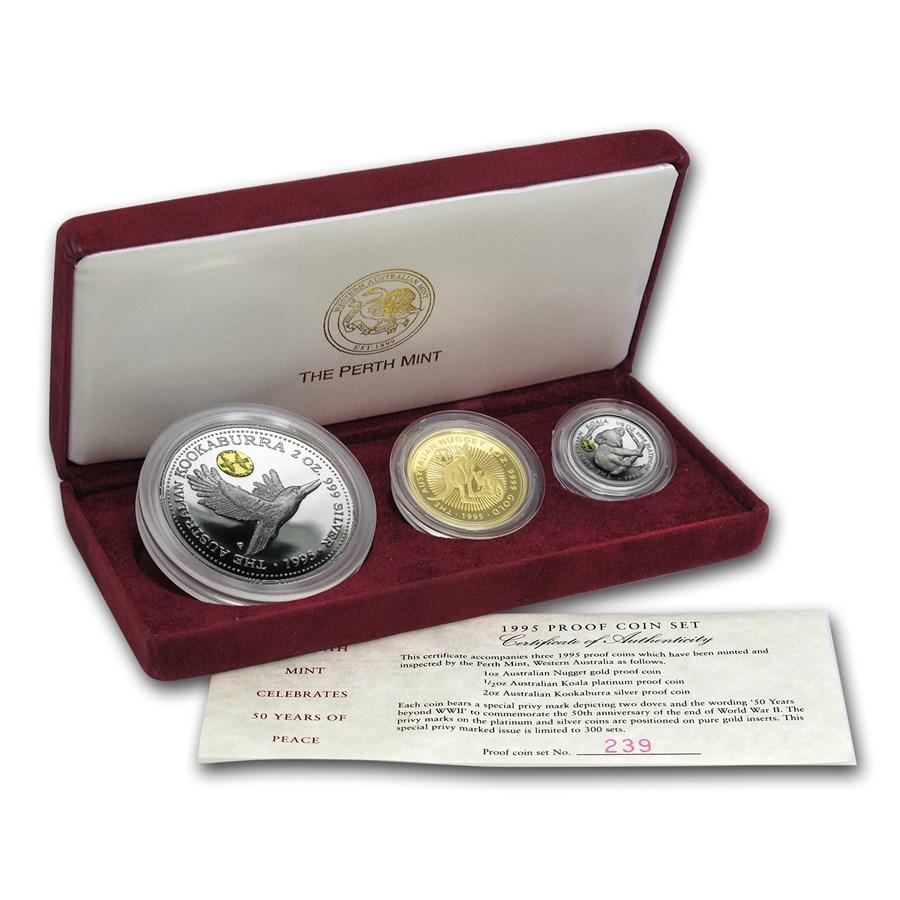 1995 Australia 3-Coin Family of Precious Metals Proof Set