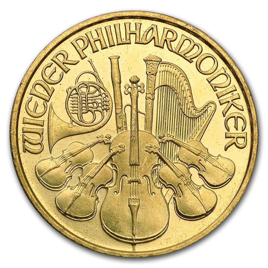 1995 Austria 1/10 oz Gold Philharmonic BU