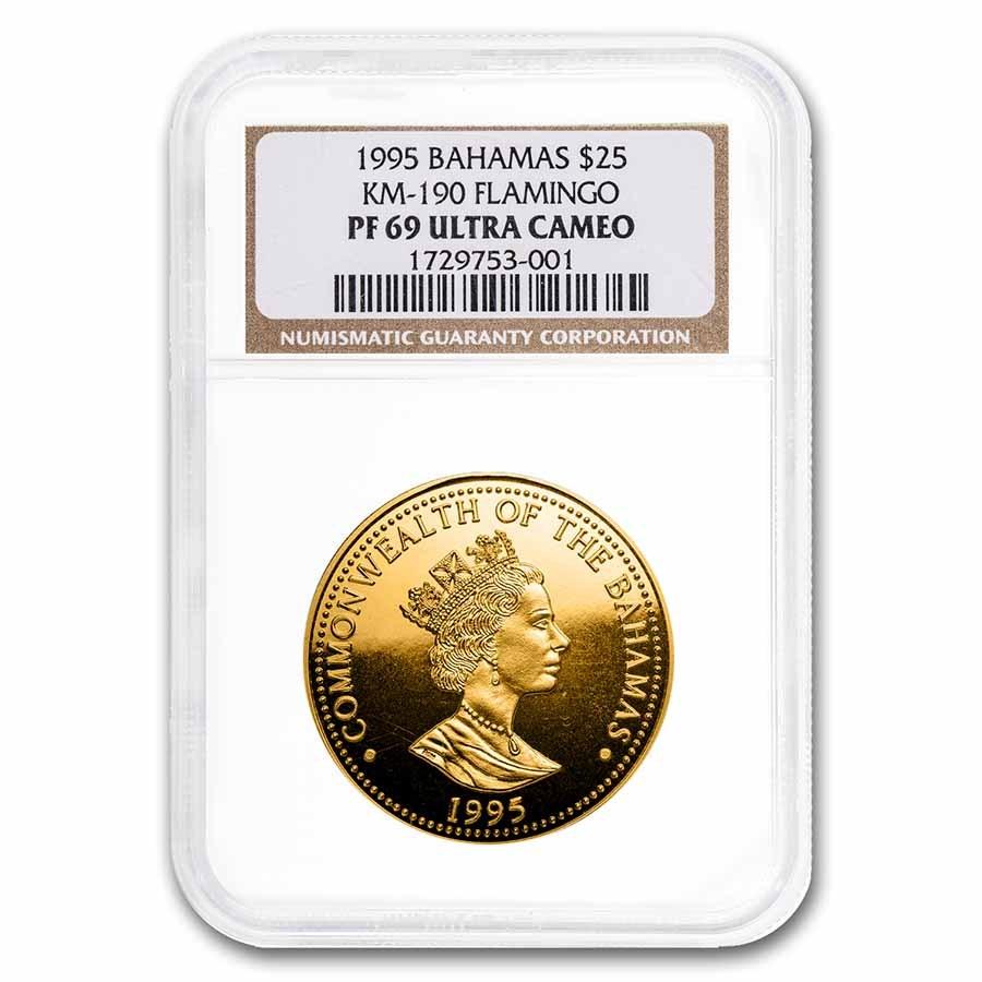 1995 Bahamas Gold $25 Dollars Flamingo PF-69 NGC