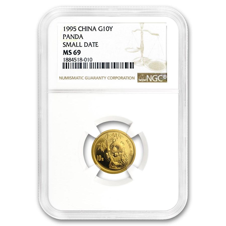 1995 China 1/10 oz Gold Panda Small Date MS-69 NGC