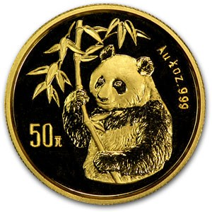 1995 China 1/2 oz Gold Panda BU (Not Sealed)