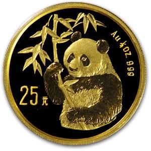 1995 China 1/4 oz Gold Panda Small Date BU (Sealed)