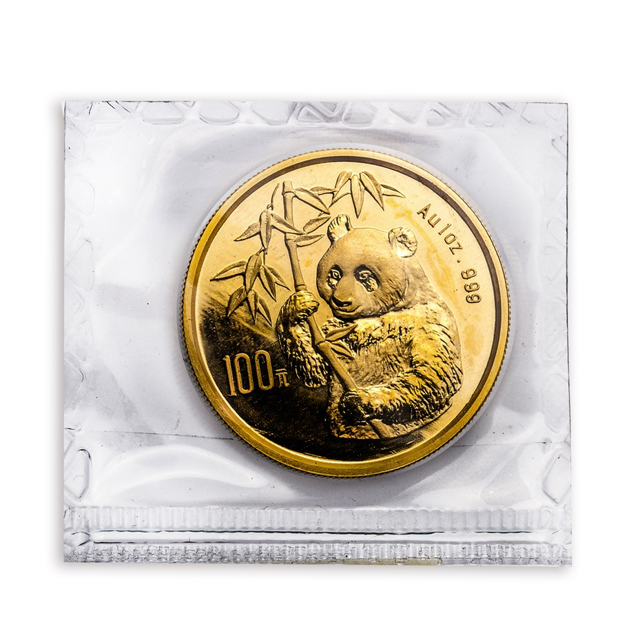 1995 China 1 oz Gold Panda Large Date BU (Sealed)