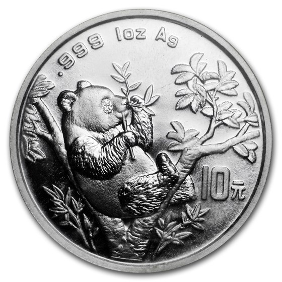 1995 China 1 oz Silver Panda Large Date BU (Sealed)