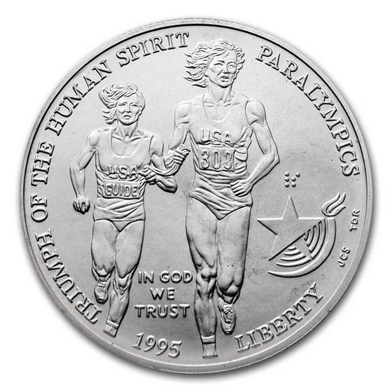 1995-D Olympic Blind Runner $1 Silver Commem BU (w/Box & COA)