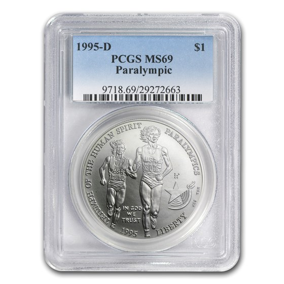 1995-D Olympic Blind Runner $1 Silver Commem MS-69 PCGS