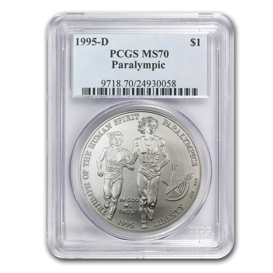 1995-D Olympic Blind Runner $1 Silver Commem MS-70 PCGS