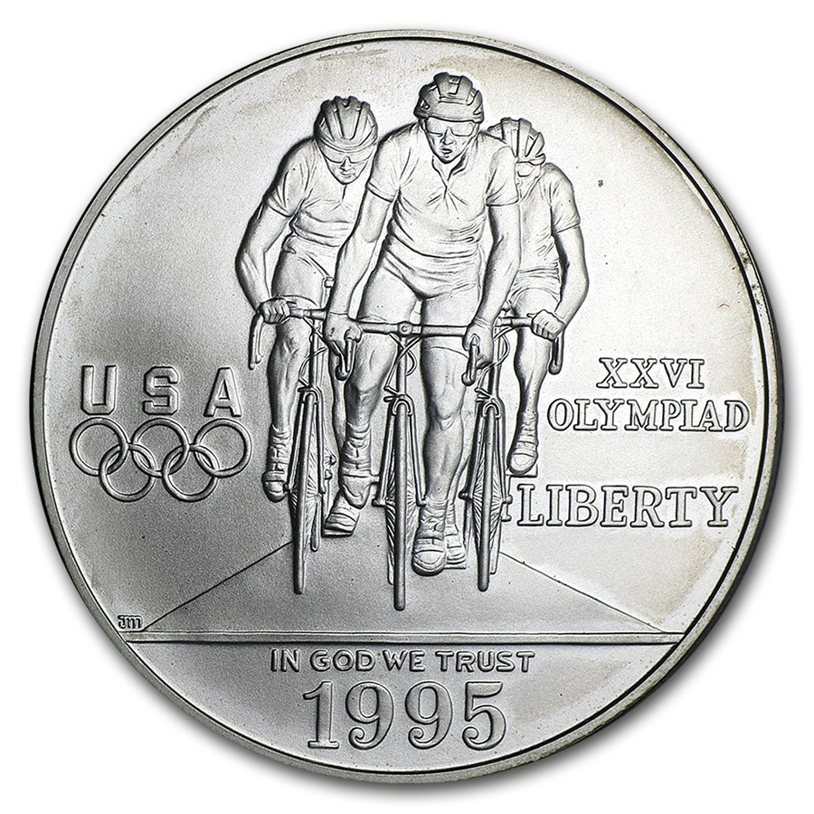 1995-D Olympic Cycling $1 Silver Commem BU (Capsule Only)
