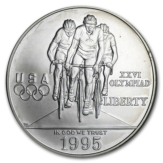 1995-D Olympic Cycling $1 Silver Commemorative BU (Capsule Only)