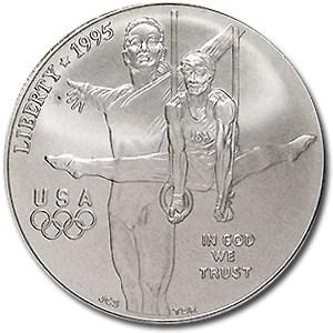 1995-D Olympic Gymnast $1 Silver Commem BU (w/Box & COA)