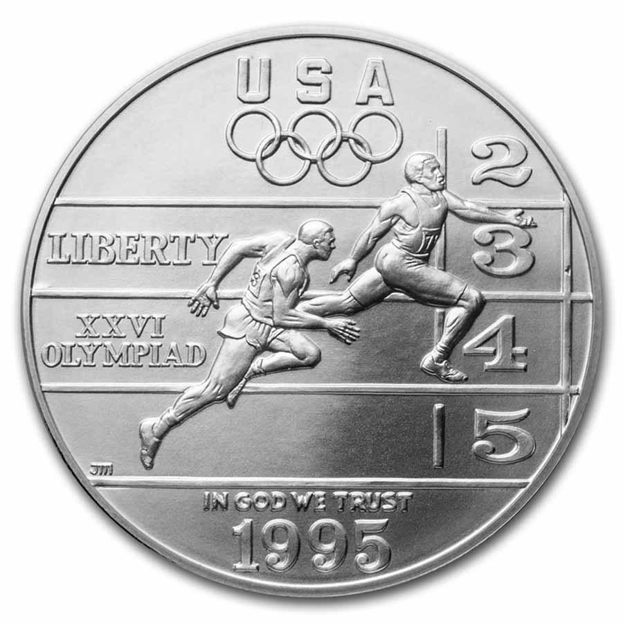 1995-D Olympic Track and Field $1 Silver Commem BU (w/Box & COA)