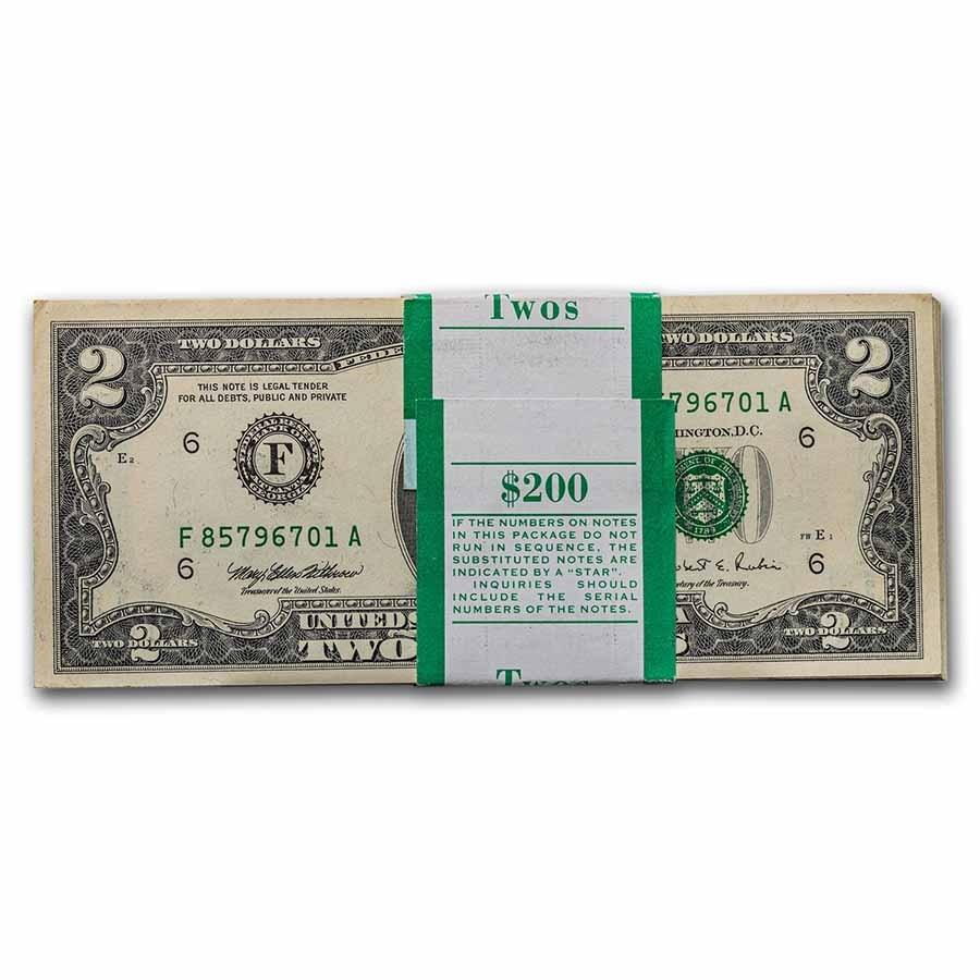 1995 (F-Atlanta) $2.00 FRN CU (Fr#1936-F) 100 Consecutive