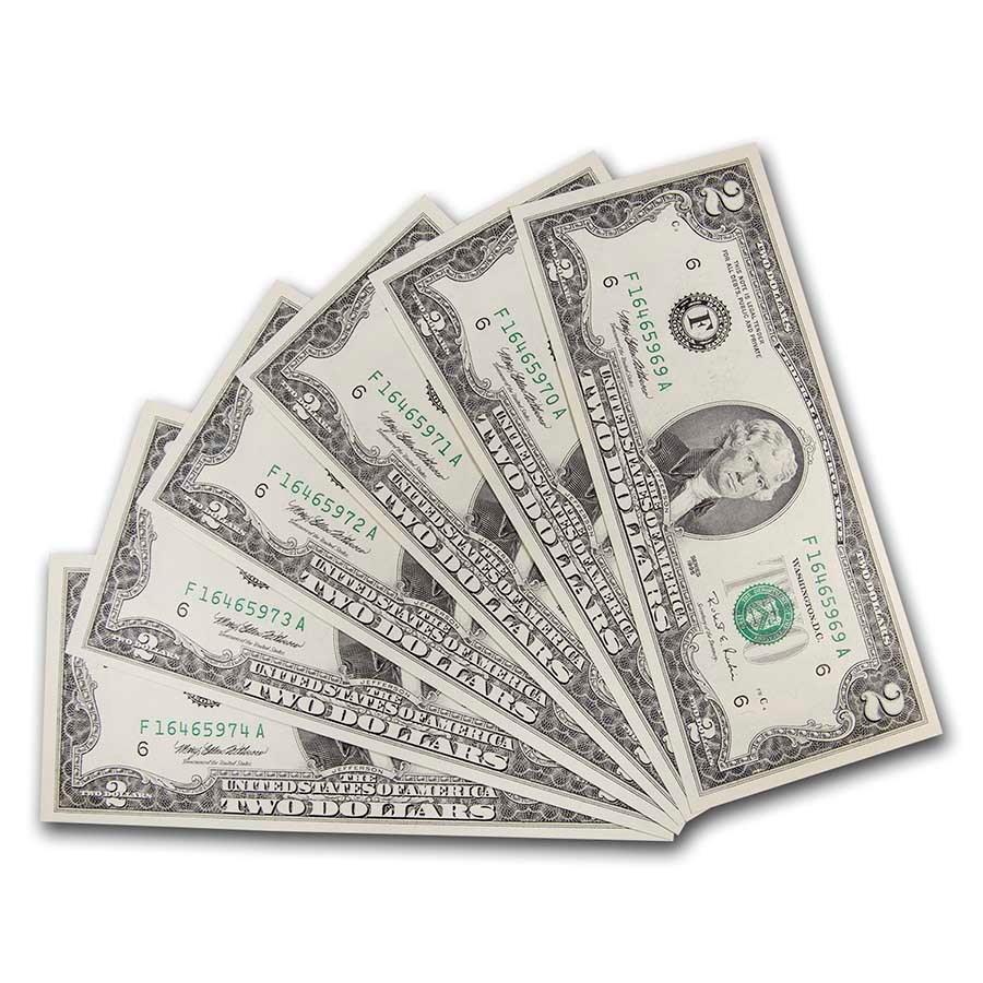 1995 (F-Atlanta) $2.00 FRN CU (Fr#1936-F) 6 Consecutive