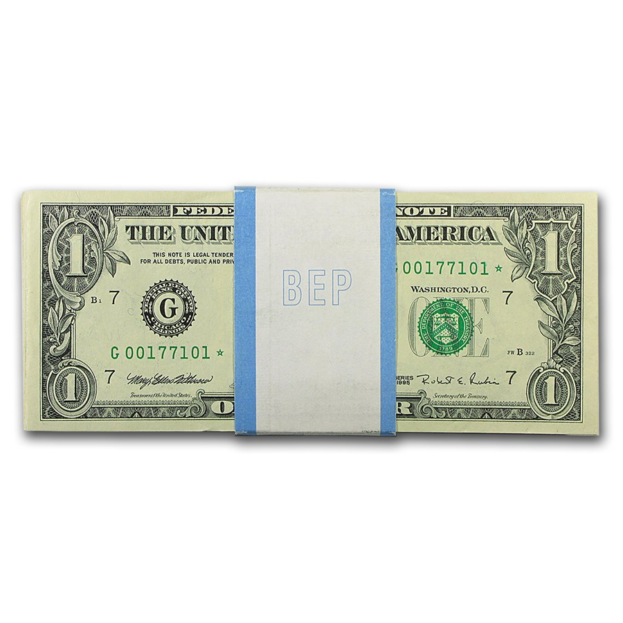 1995* (G-Chicago) $1.00 FRN CU (Pack of 100 Star Notes)