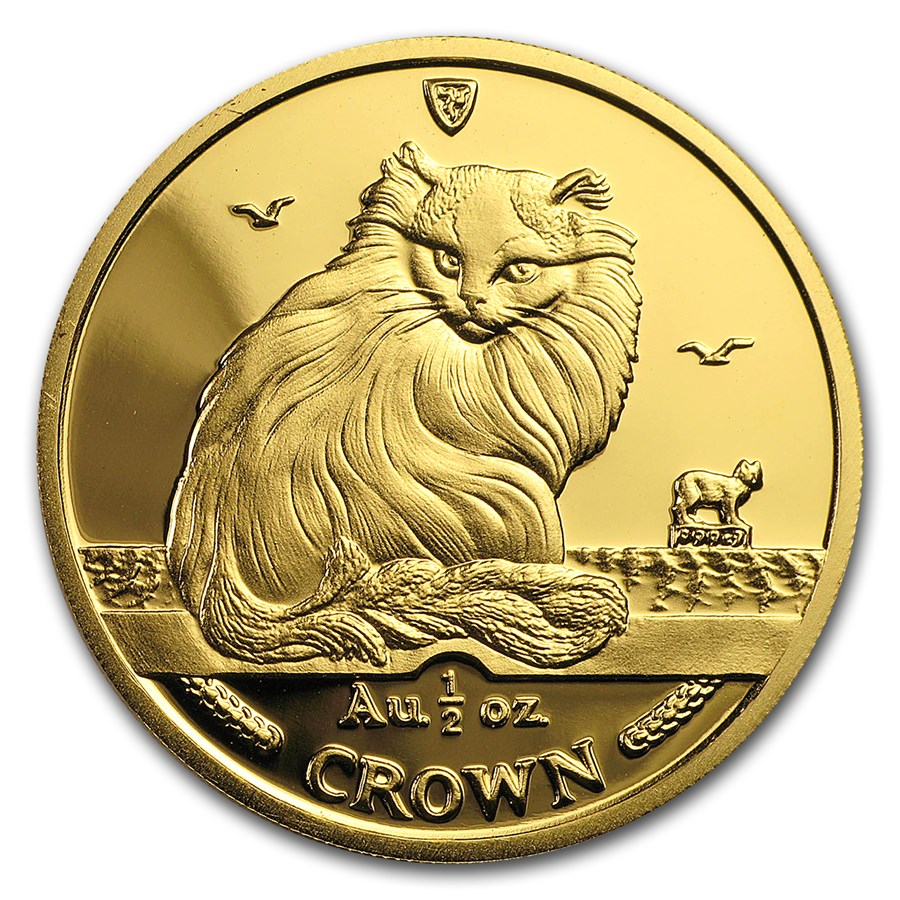 1995 Isle of Man 1/2 oz Gold Turkish Cat BU
