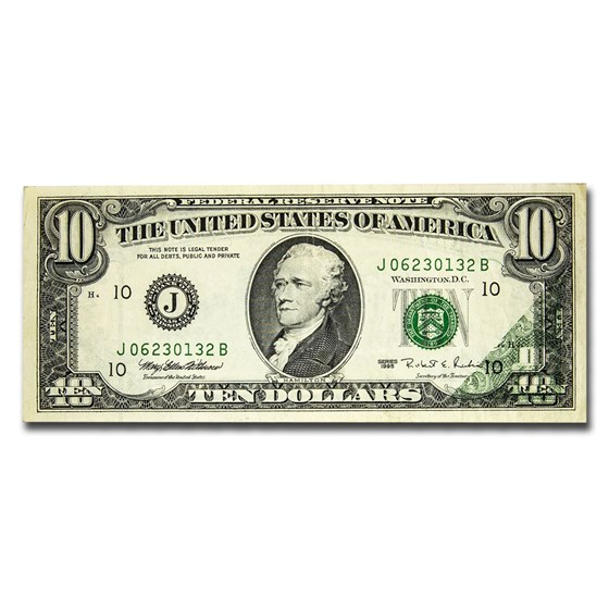 1995 (J-Kansas City) $10 FRN XF (Offset Error)